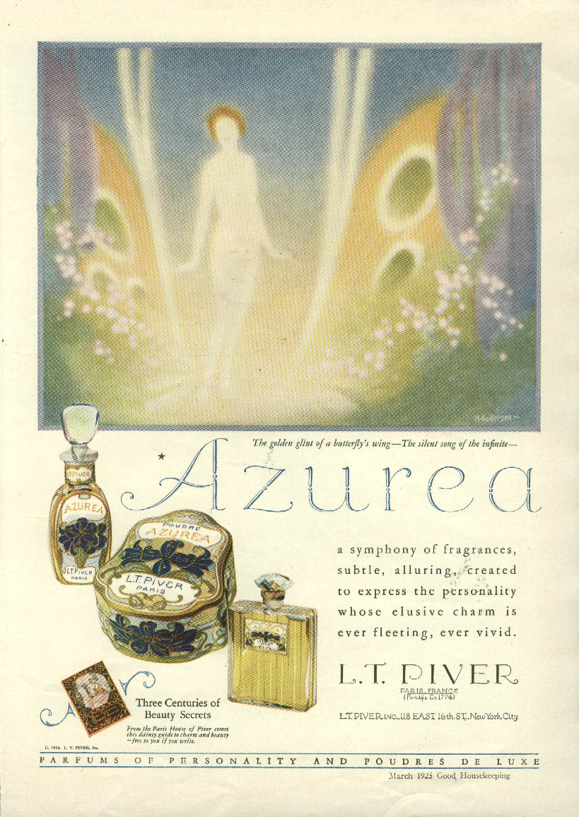 A symphony of fragrances Azurea Perfume by L T Piver ad 1925 Andersen art