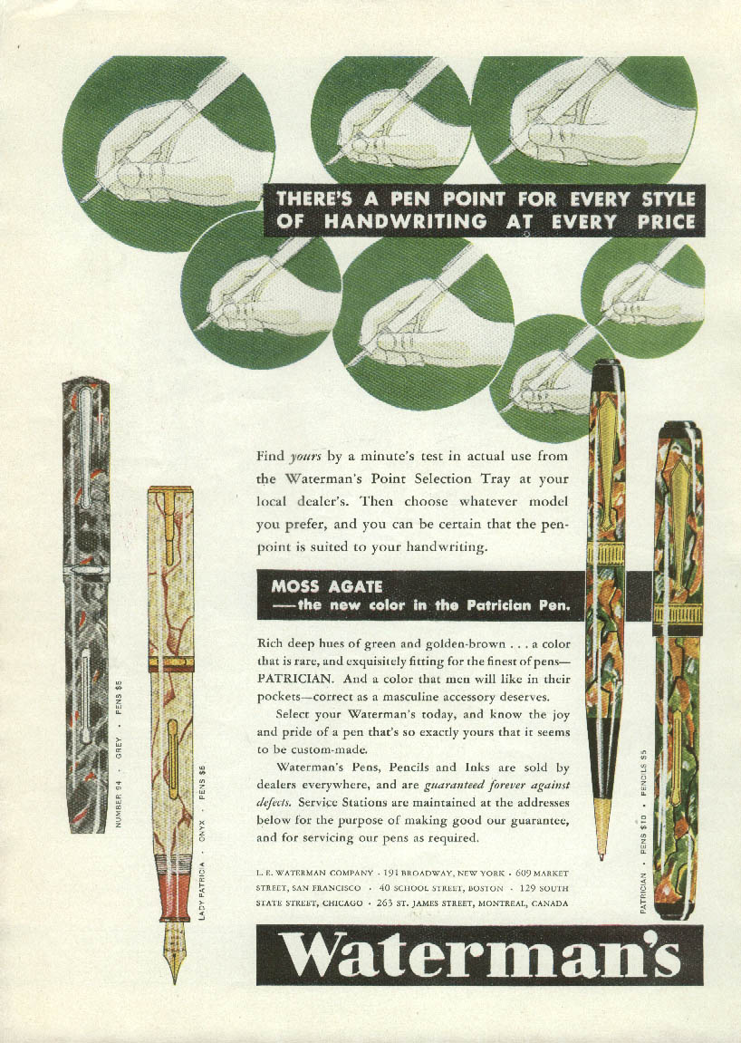 A pen point for every style Waterman's Moss Agate Fountain Pen ad 1931