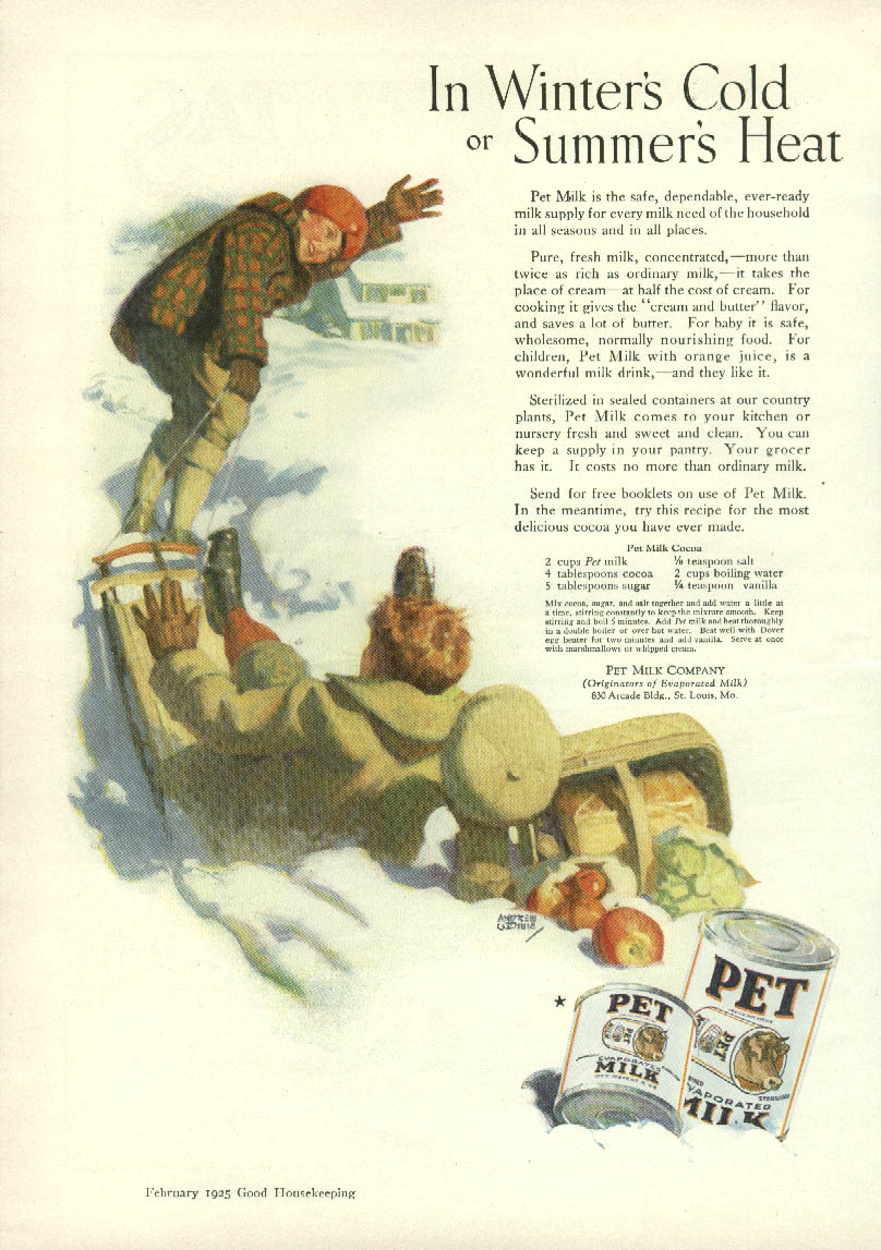 In Winter's Cold or Summer's Heat Pet Evaporated Milk ad 1925 boys sledding