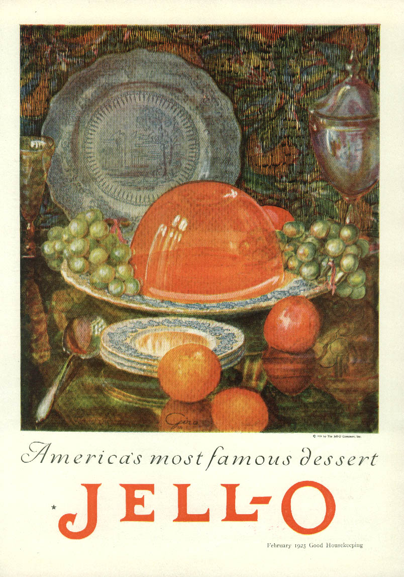 America's most famous dessert Jell-O ad 1925 art by Giro
