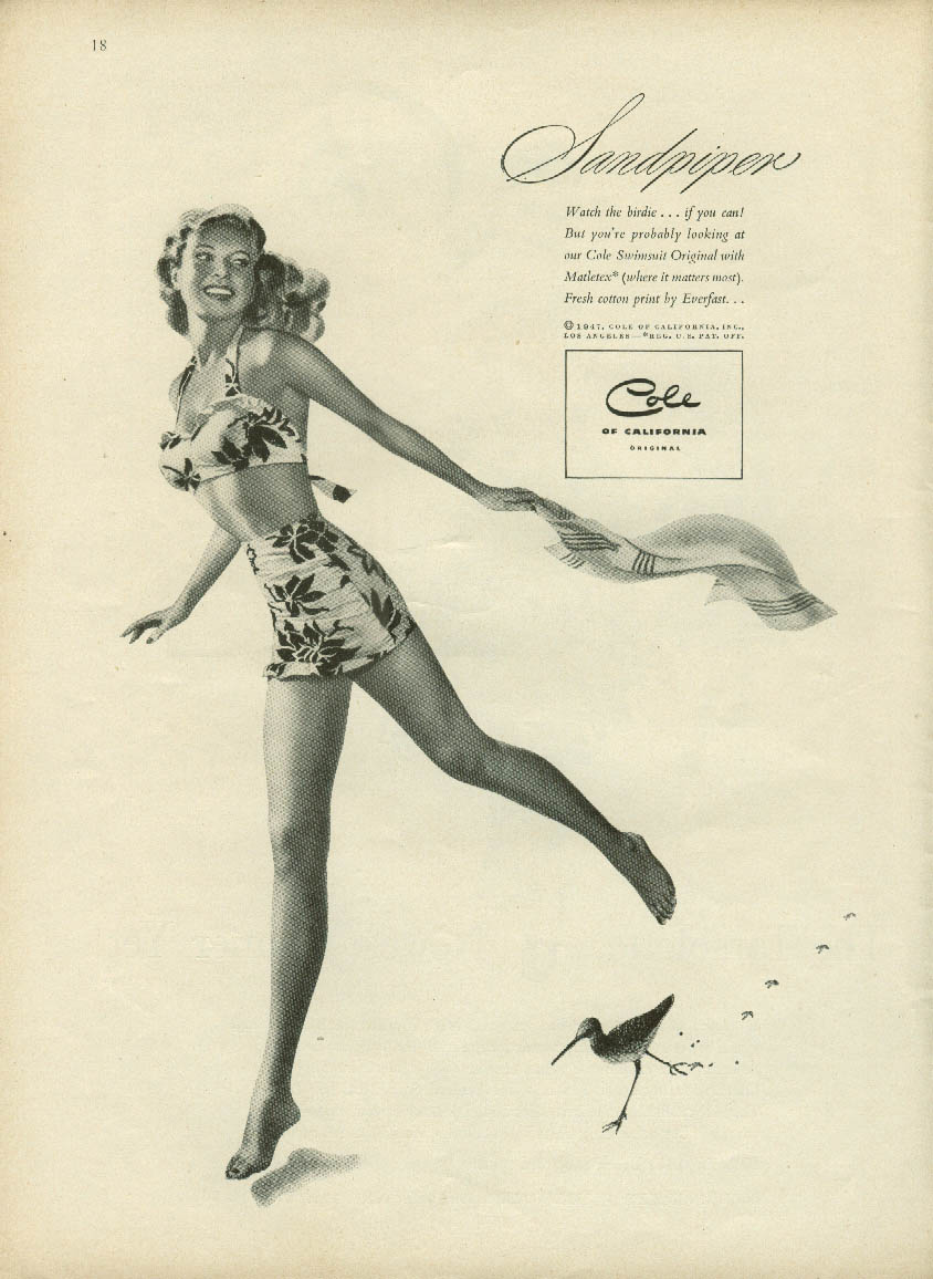 Sandpiper Cole of California swimsuit ad 1947 probably Ren Wicks