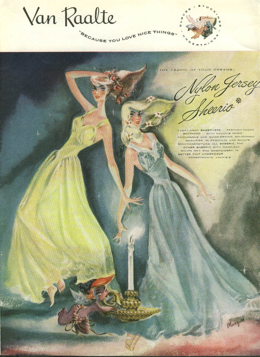 Van Raalte Sheerio Nightgown / Valetina for Kaiser Frazer ad 1947 NY