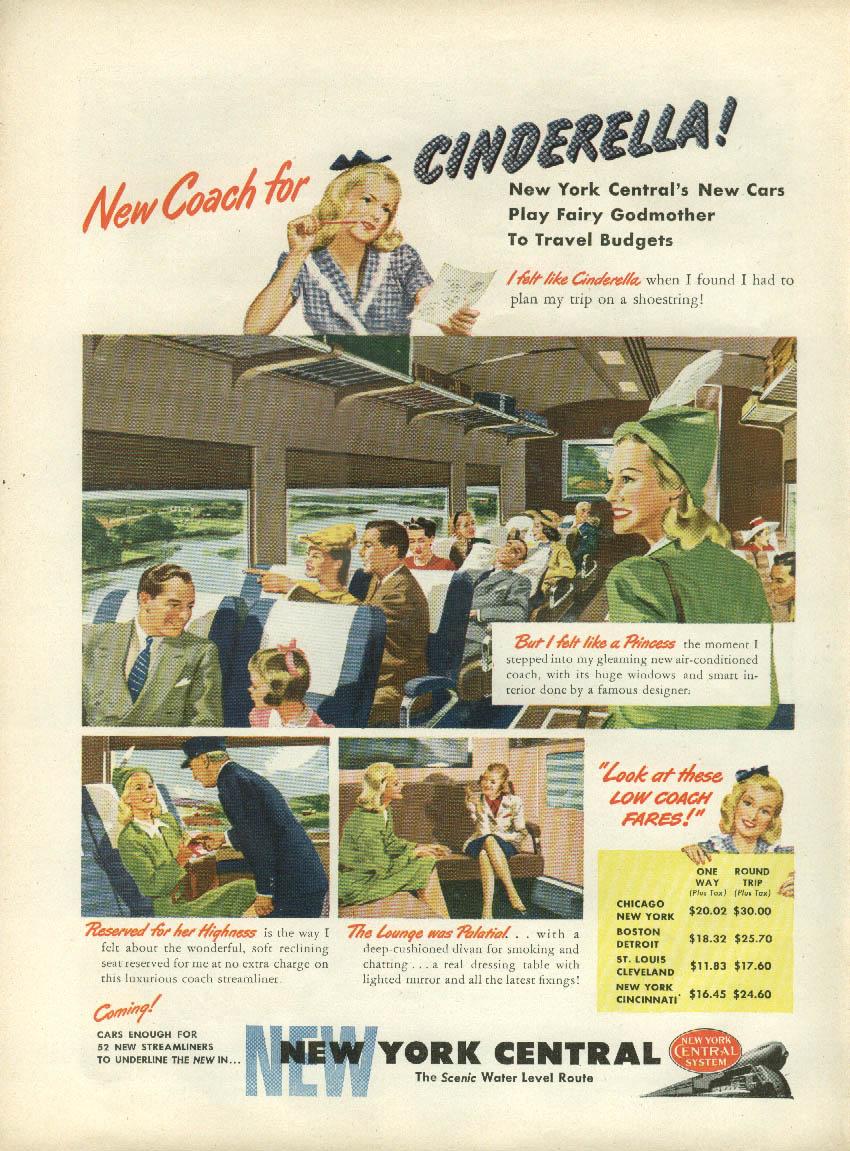 New Coach for Cinderella! New York Central Railroad ad 1946 NY