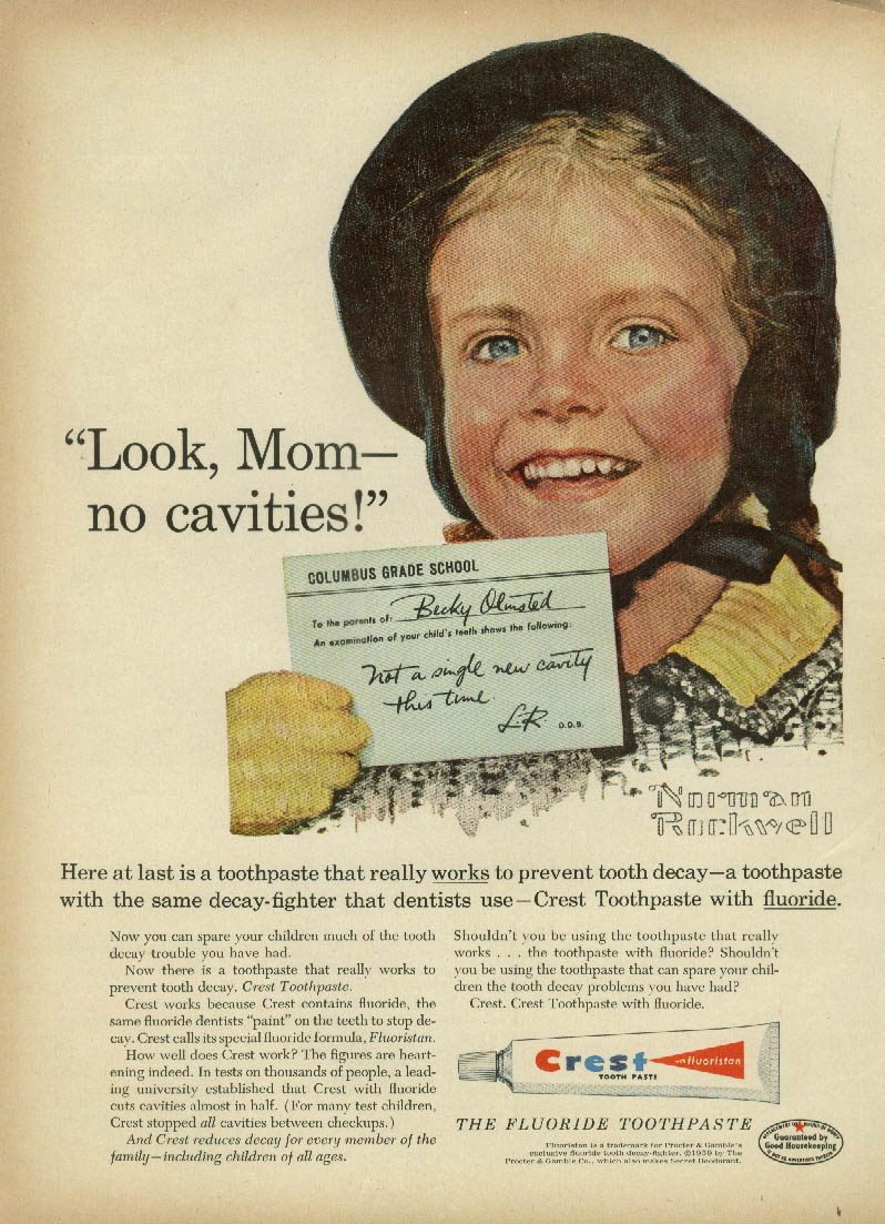 Look Mom no cavities! Becky Olmsted Crest Toothpaste ad 1959 Norman Rockwell GH