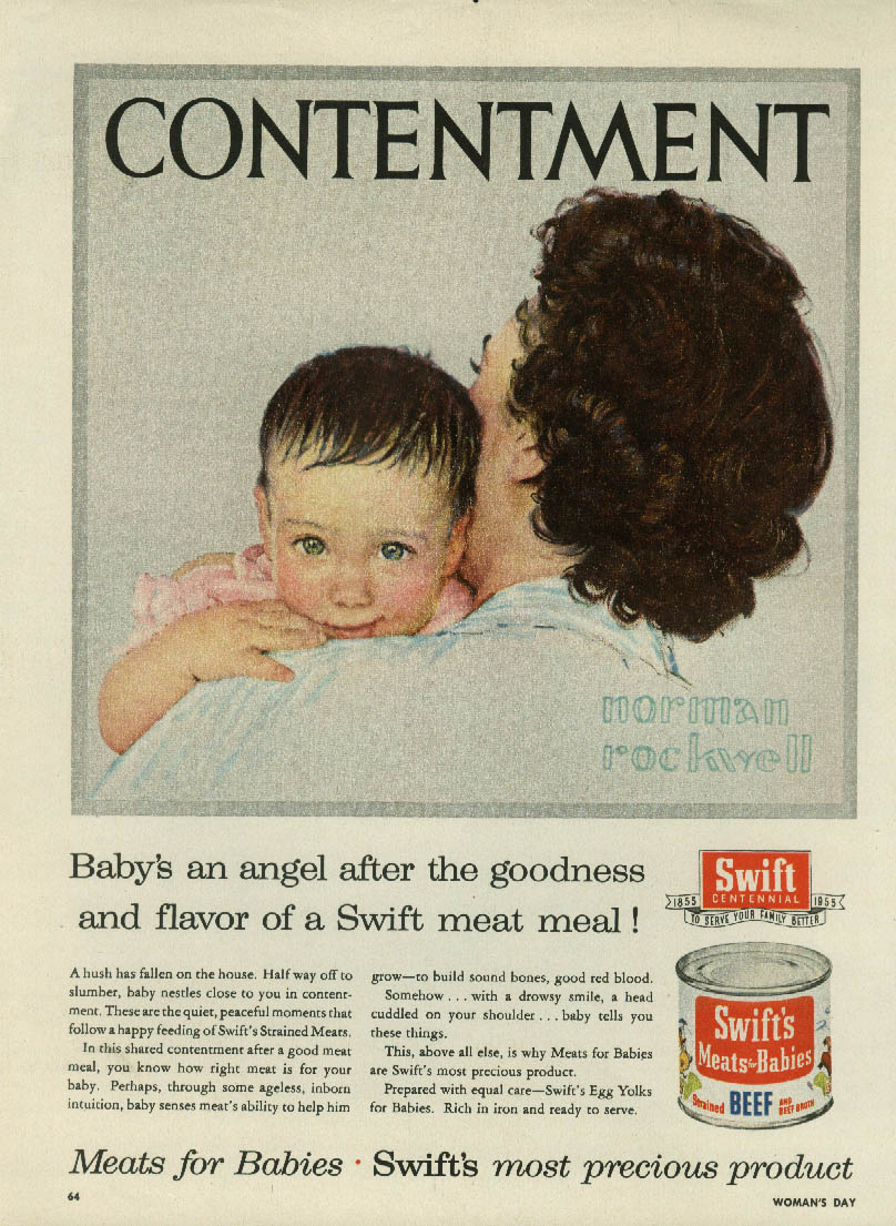 Contentment - Baby's an angel Swift's Baby Food ad 1955 Norman Rockwell vr
