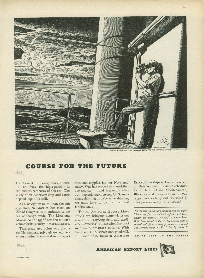 Course for the Future American Export Lines ad 1946 Rockwell Kent