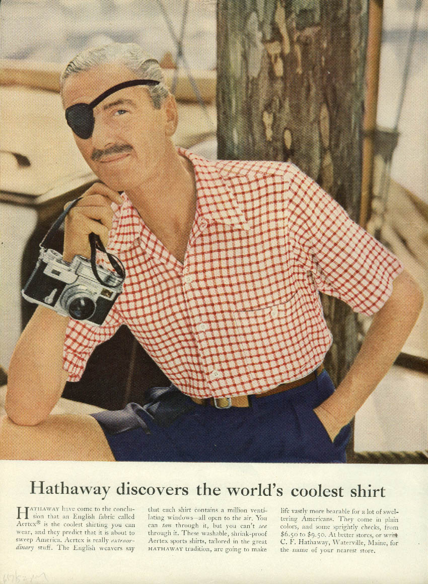 Hathaway discovers the coolest shirt / Snuff de Schiaparelli cologne ad 1952