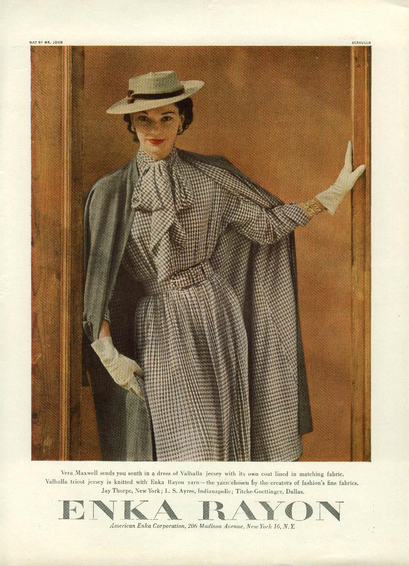 Vera Maxwell dress of Enka Rayon ad 1951 Scavullo photo
