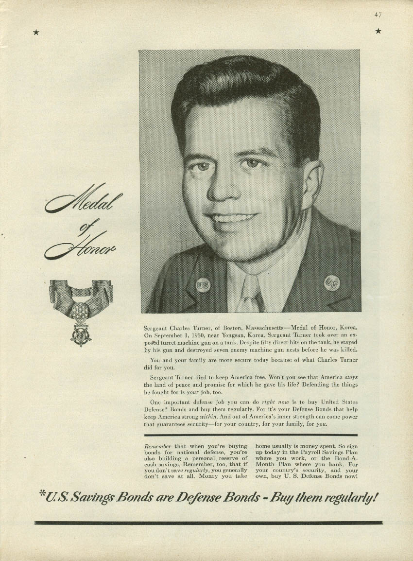 Congressional Medal of Honor Winner Sgt Charles Turner US Savings Bonds ad 1951