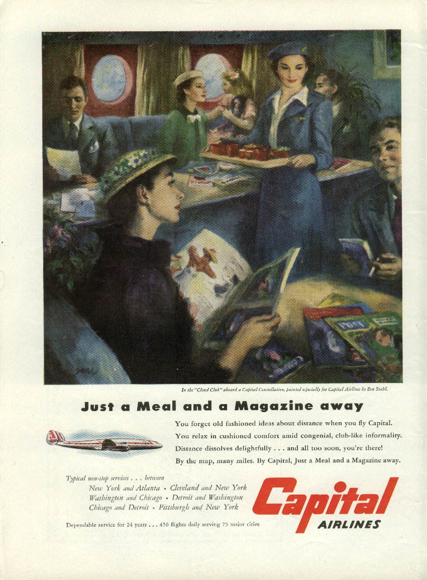 A meal & a magazine away Capital Airlines Constellation ad 1951 NY