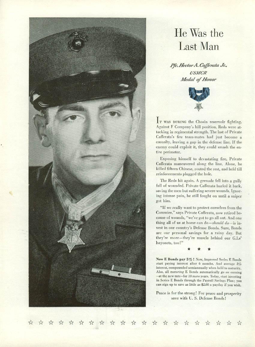 Image for Congressional Medal of Honor USMC Pfc Hector Caffareta US Savings Bonds ad 1953