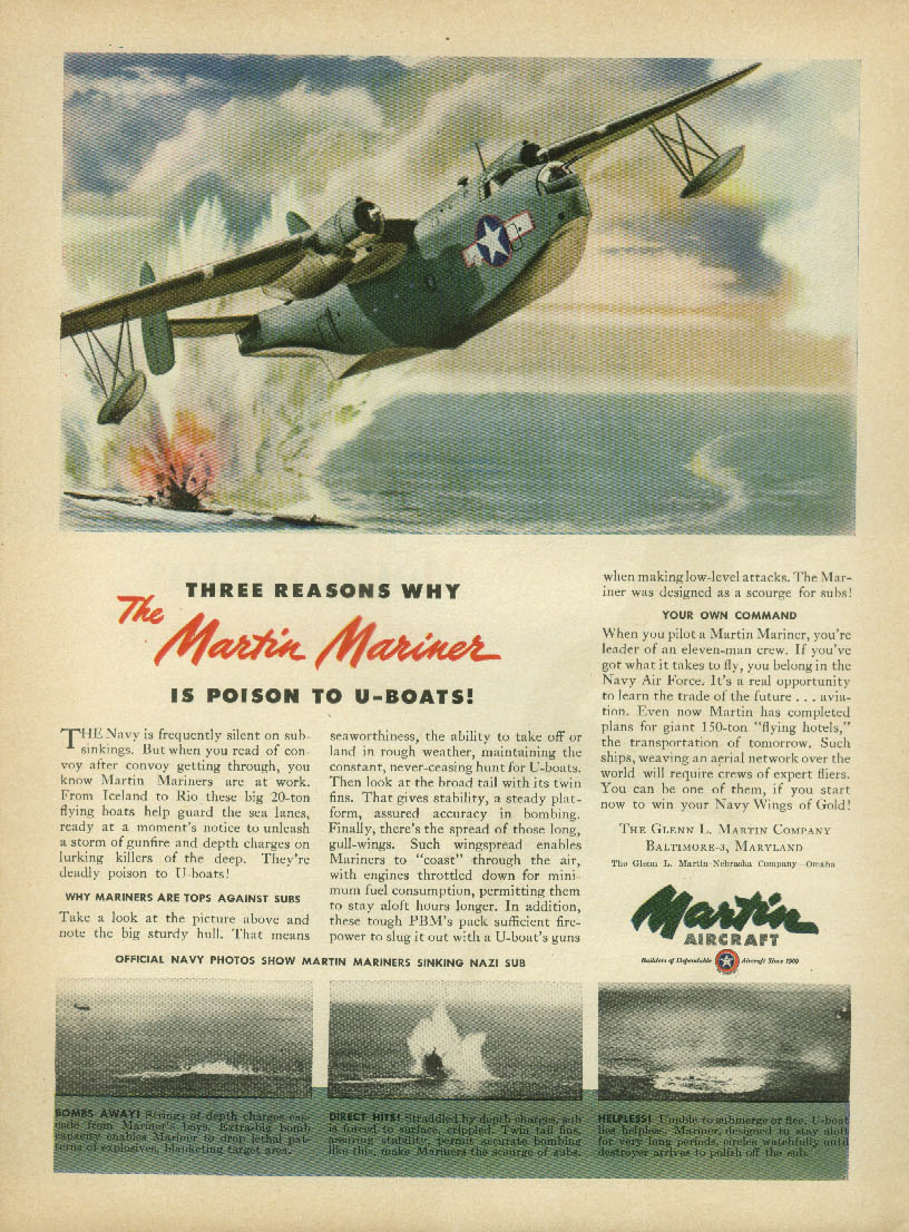 Three reasons why the Martin Mariner is poison to U-boats ad 1945 NY