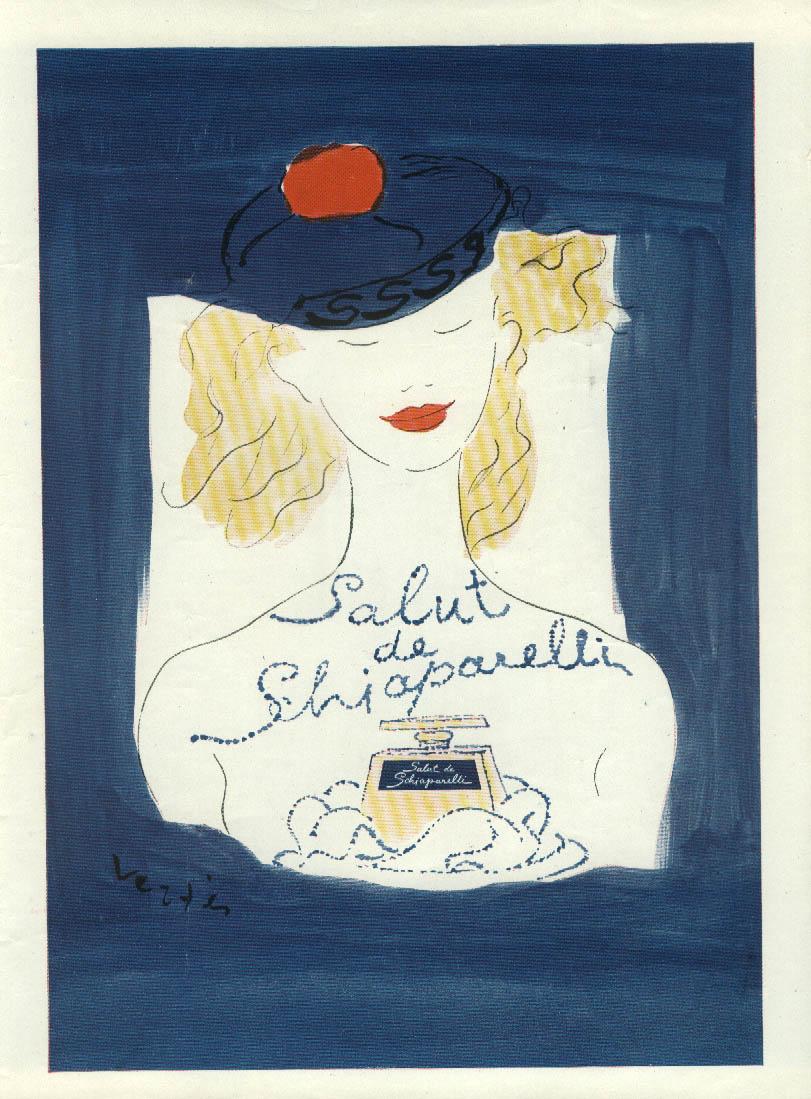 Salut de Schiaparelli perfi=ume ad 1945 Vertes blonde in blue beret NY