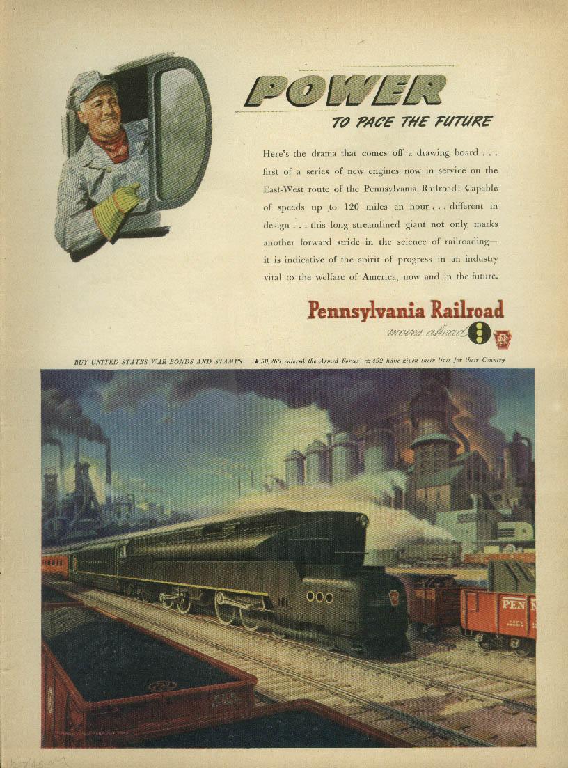 Pennsylvania RR T1 4-4-4-4 loco / Miss Rheingold Beer Pat Boyd skiing ad 1945