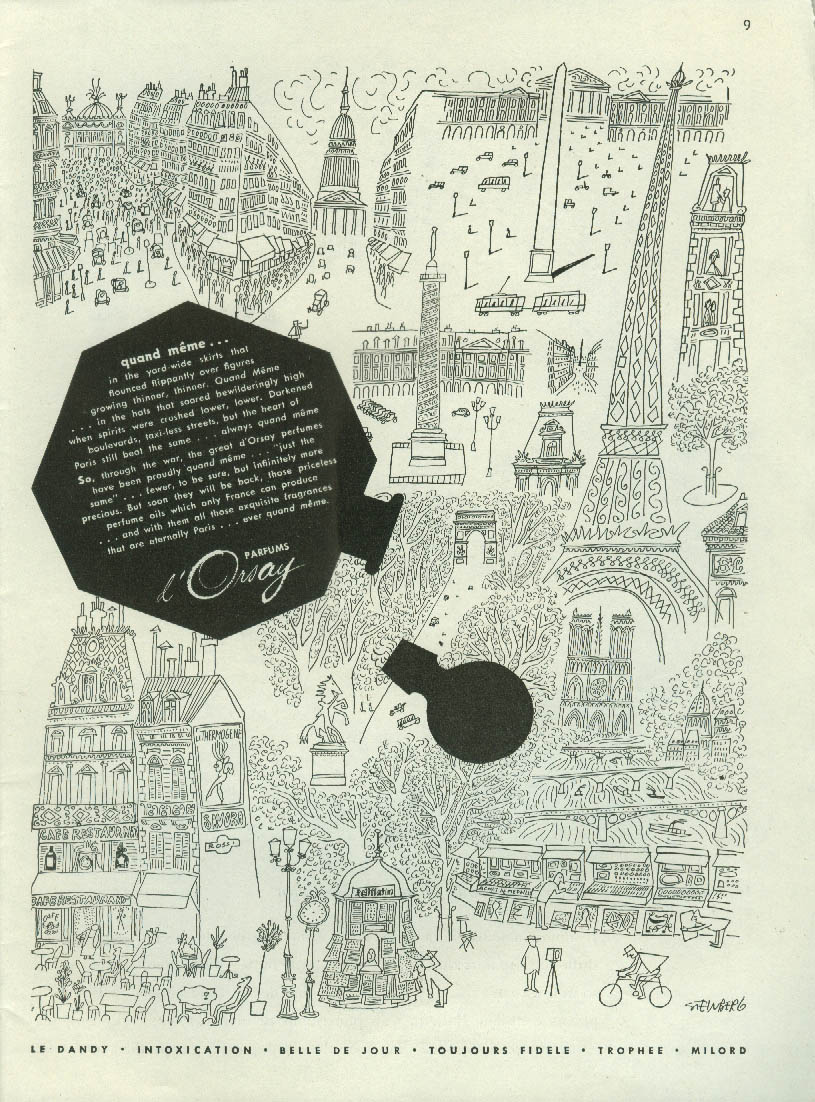Quand meme Parfums d'Orsay perfumes ad 1945 Saul Steinberg art NY
