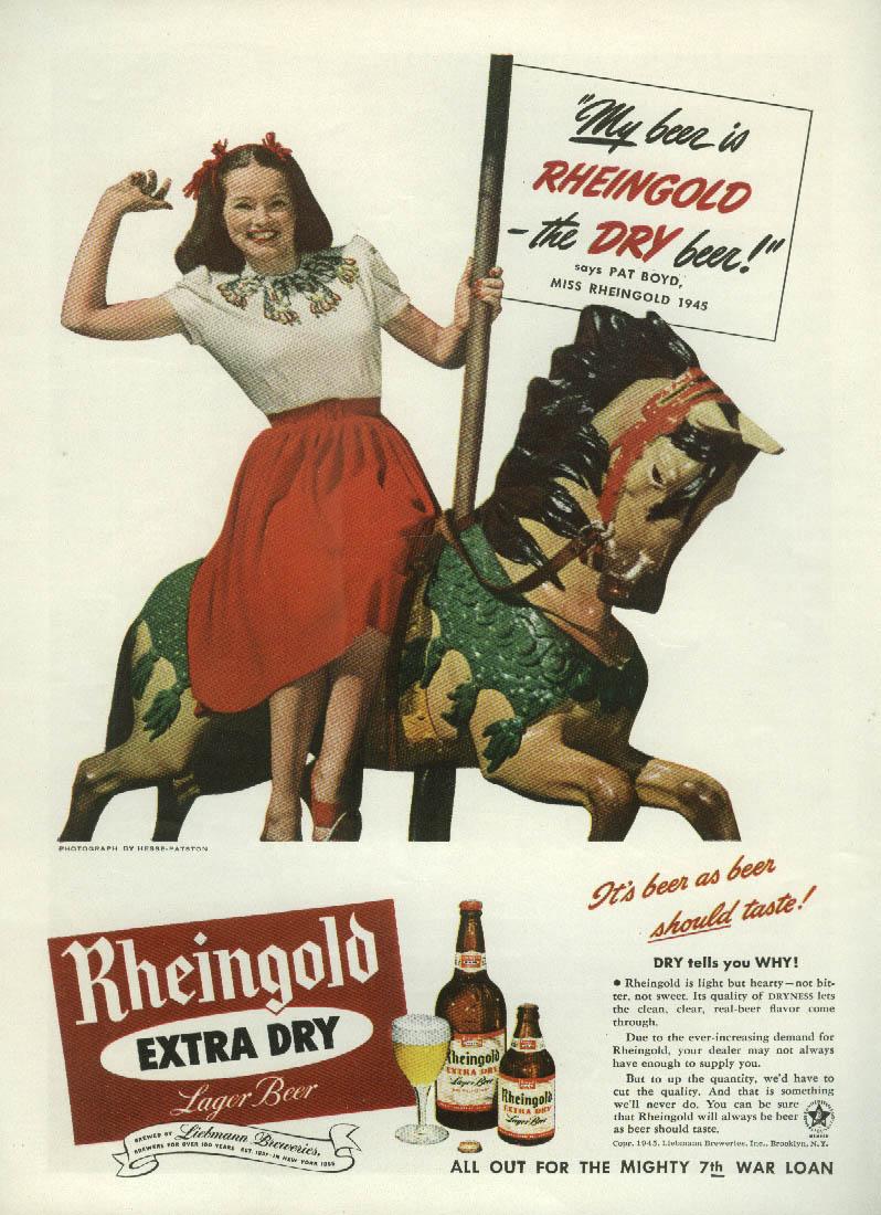 Miss Rheingold Beer Pat Boyd carousel horse / Lockheed Shooting Star ad 1945