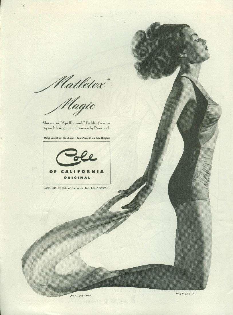 Matletex Magic Cole of California Swimsuit ad 1945 Ren Wiocks art NY