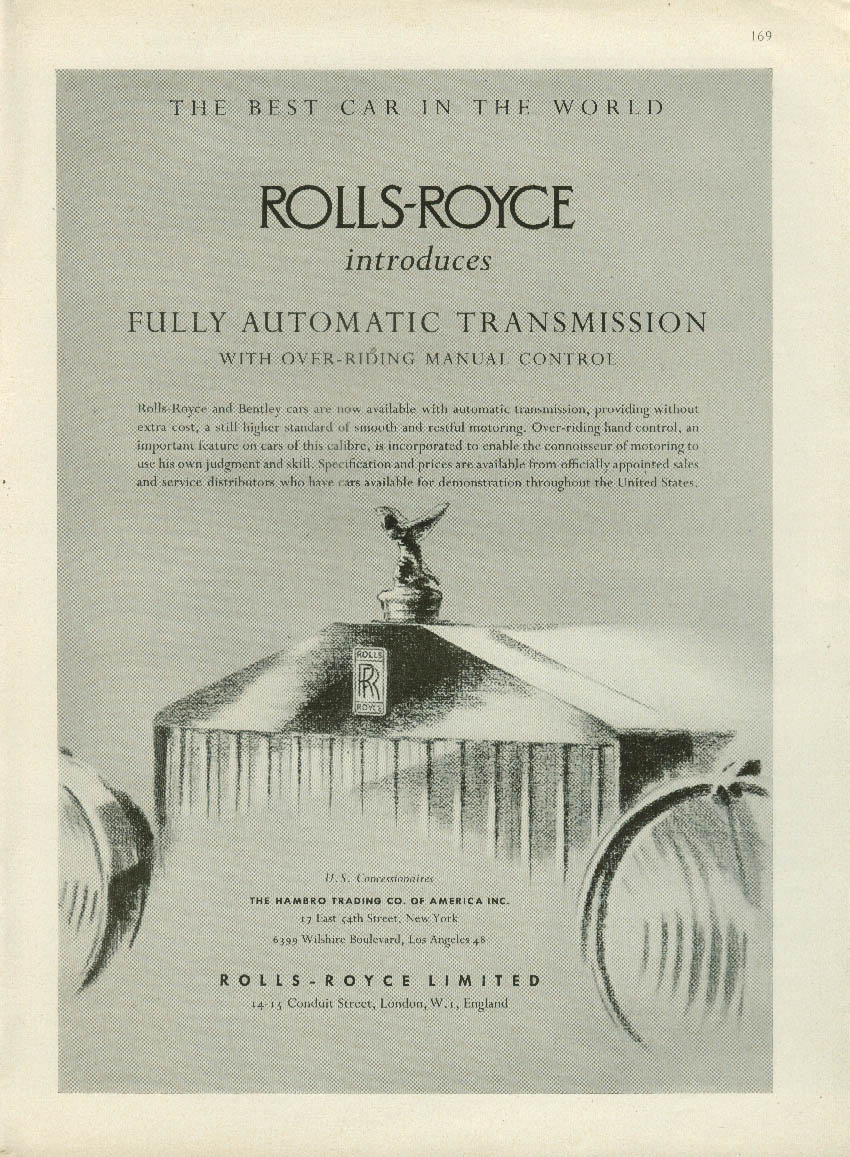 Rolls-Royce introduces fully automatic transmission ad 1952 1953