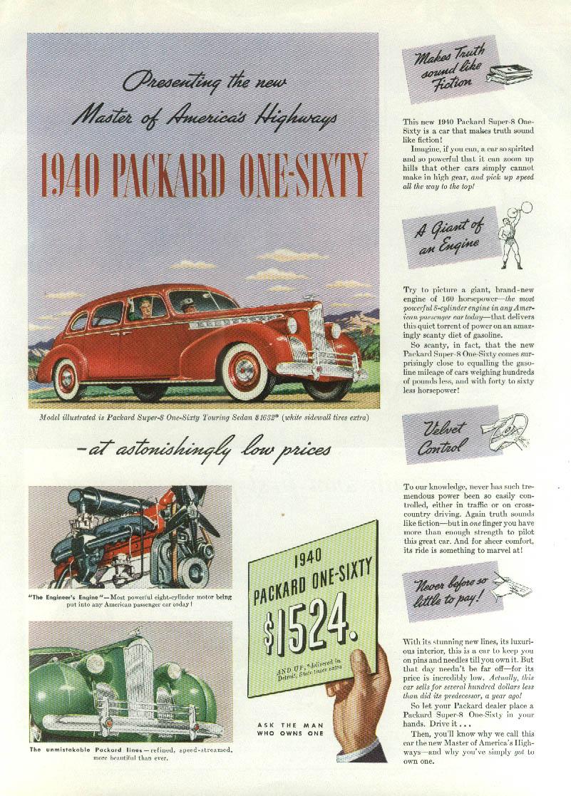 Master of America's Highways Packard One-Sixty Sedan ad 1940 Time