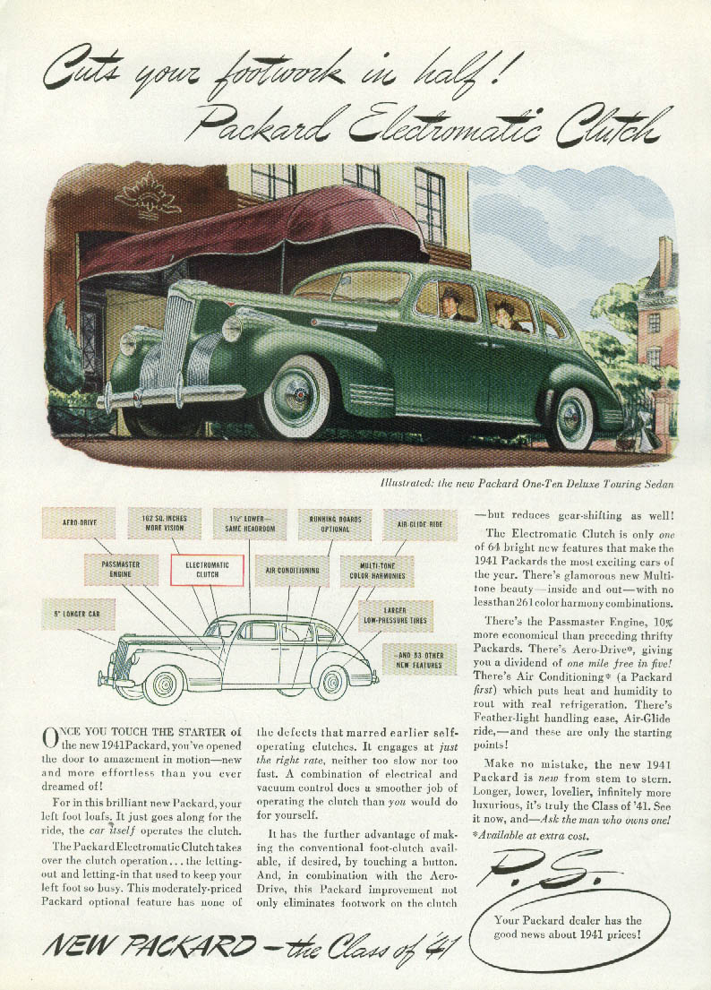 Cuts your footwork in half! Packard Electromatic Clutch ad 1941 T