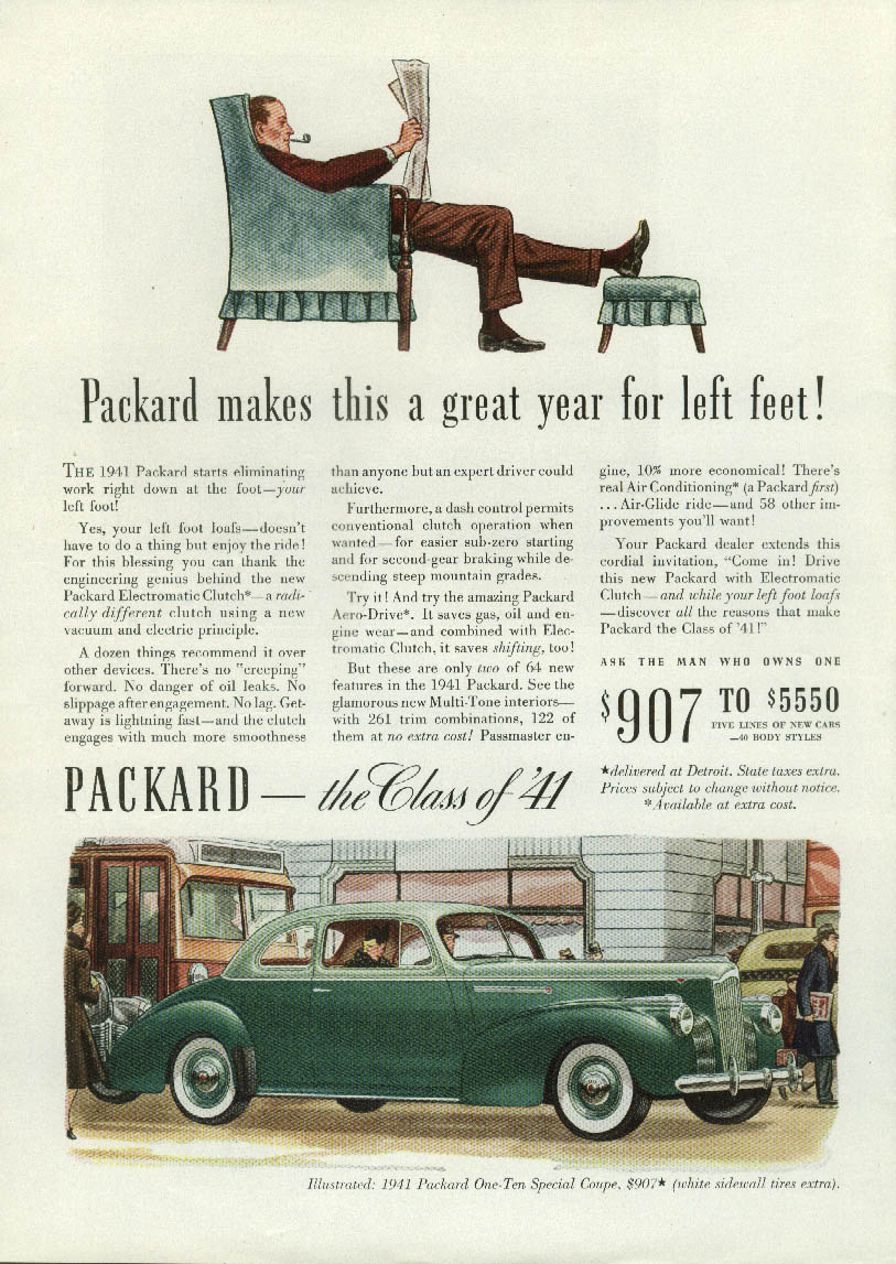 Packard makes this a great year for left feet! One-Ten Special Coupe ad 1941 T