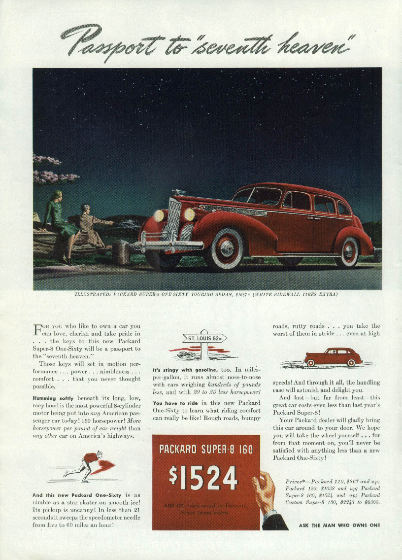 "Passport to ""seventh heaven"" Packard One-Sixty Sedan ad 1940 T"