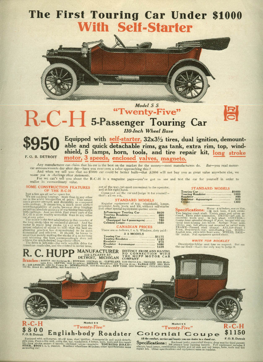1st Touring Car under $1000 with Self-Starter R-C-H Twenty Five R C Hupp ad 1912