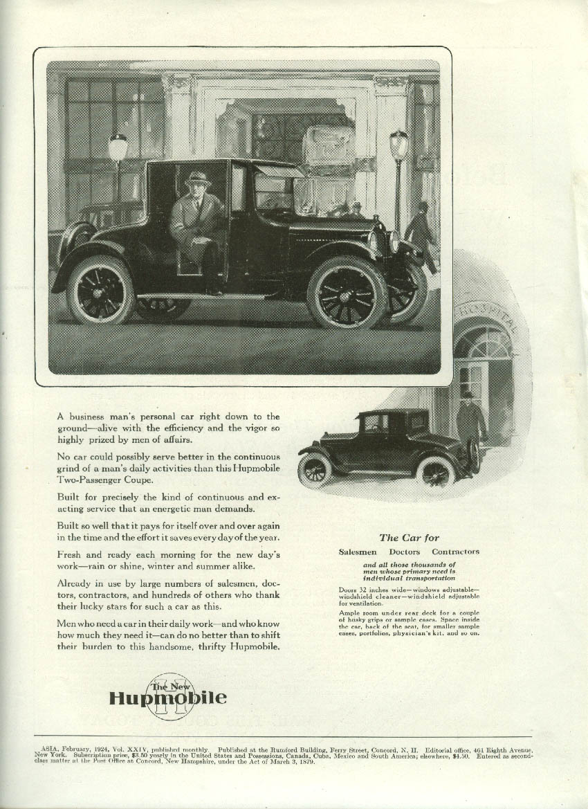 A businessman's personal car right down to the ground Hupmobile Coupe ad 1924