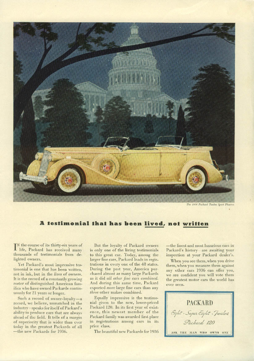 A testimonial that has been lived, not written Packard Sport Phaeton ad 1936 NY