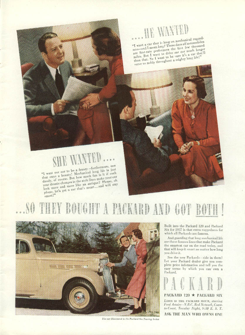 Image for He wanted - She Wanted - So they bought a Packard 120 & Six ad 1937 T
