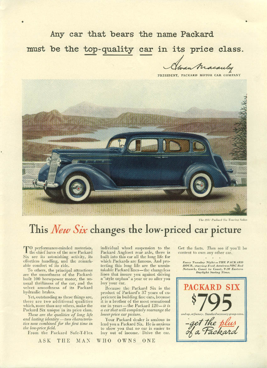 Any car that bears the name must be top quality Packard Six ad 1936 NY