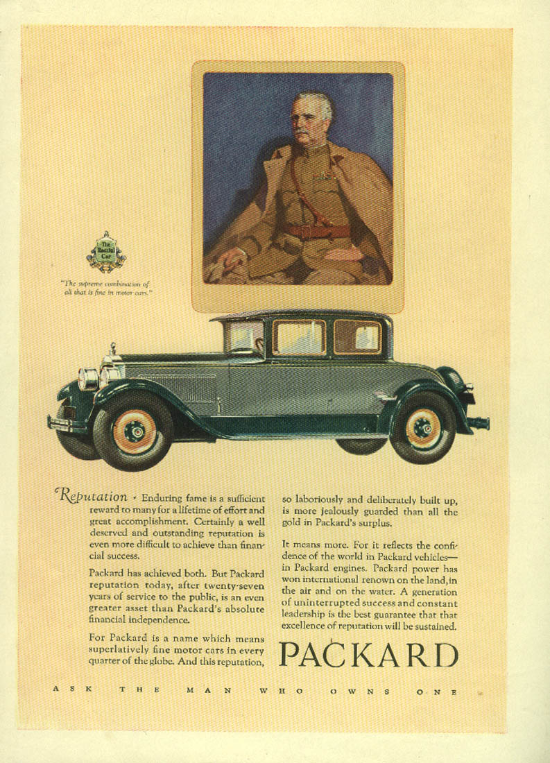 Reputation - enduring fame is sufficient reward Packard Coupe ad 1927 Mentor