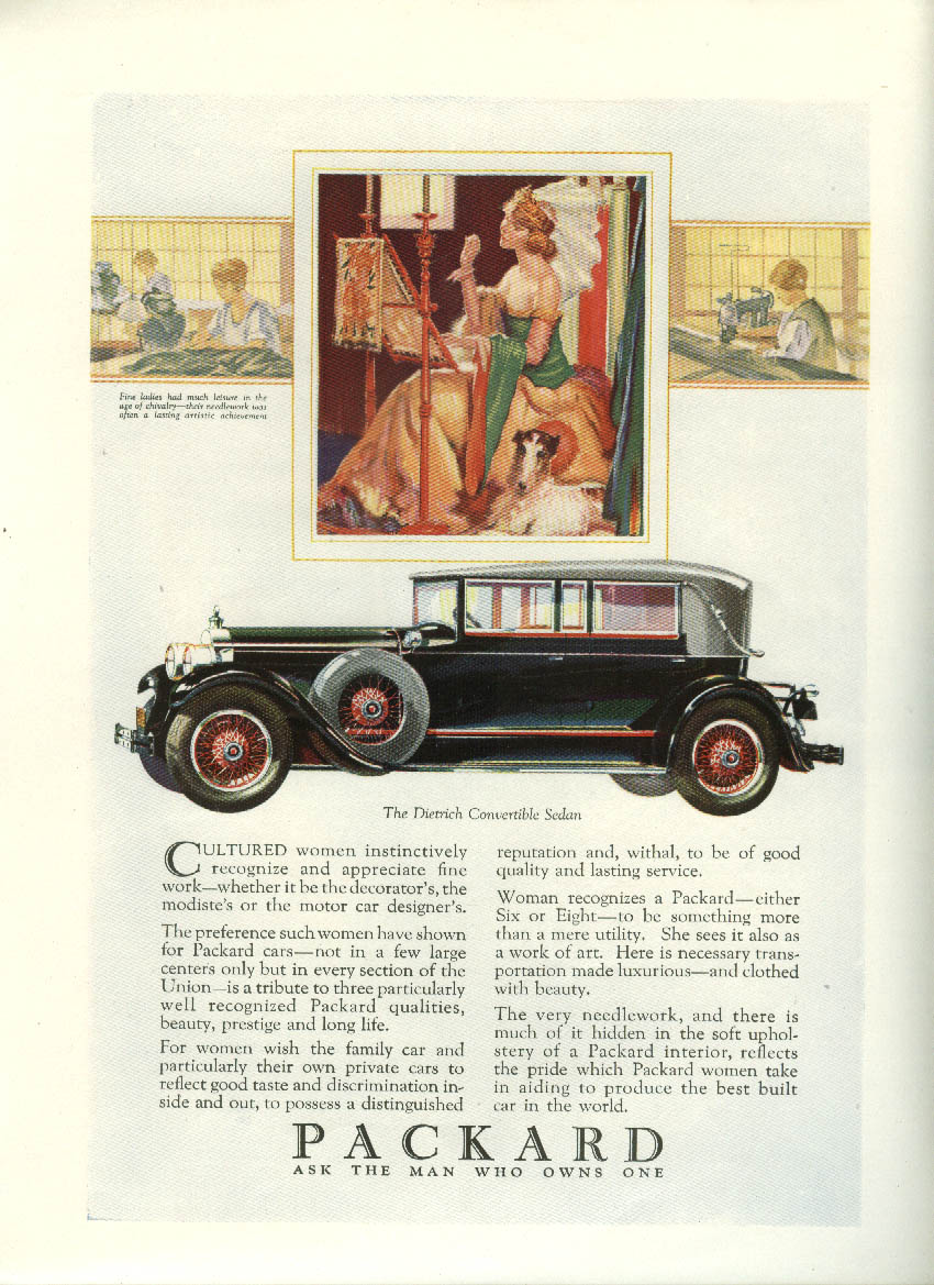 Cultured women recognize Packard Dietrich Convertible Sedan ad 1928 Asia