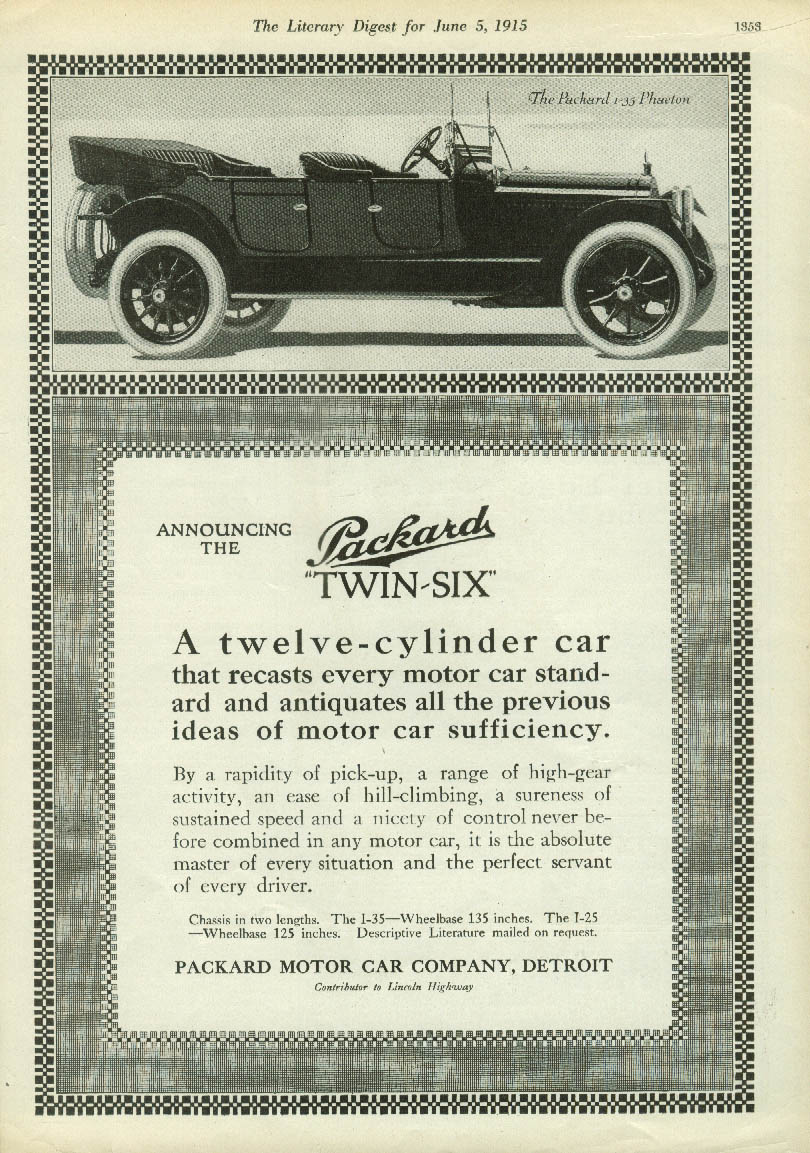 Image for A 12-cylinder car recasts every standard Packard Twin-Six Phaeton ad 1915 LD