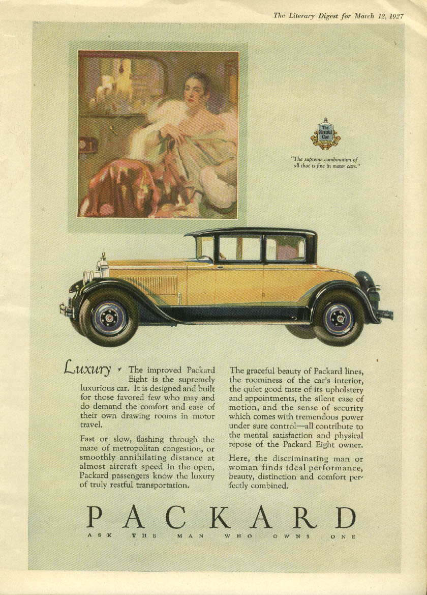 Luxury - the supremely luxurious car Packard Coupe ad 1927 LD