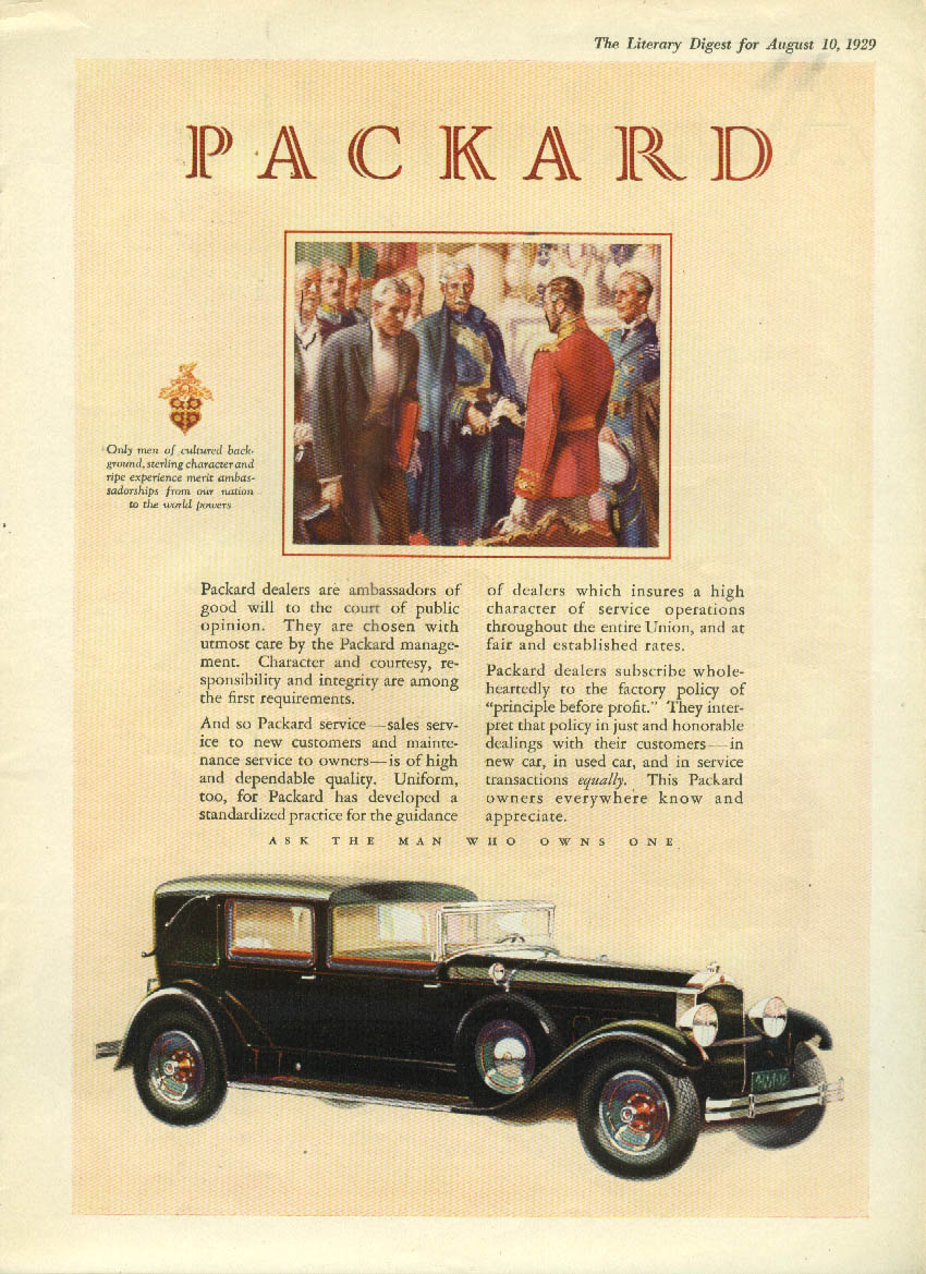 Ambassadors of good will to court of public opinion Packard Town Car ad 1929 LD