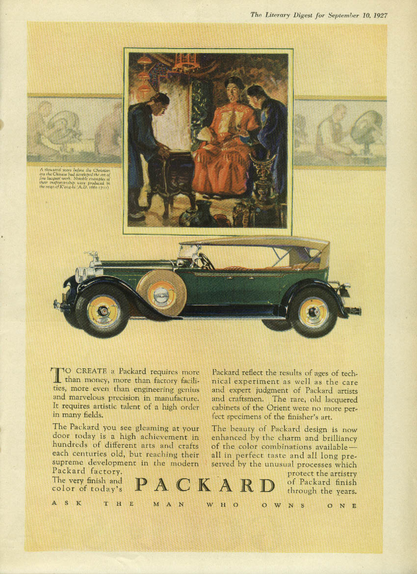 Requires more than money & factory facilities Packard Touring Car ad 1928 LD