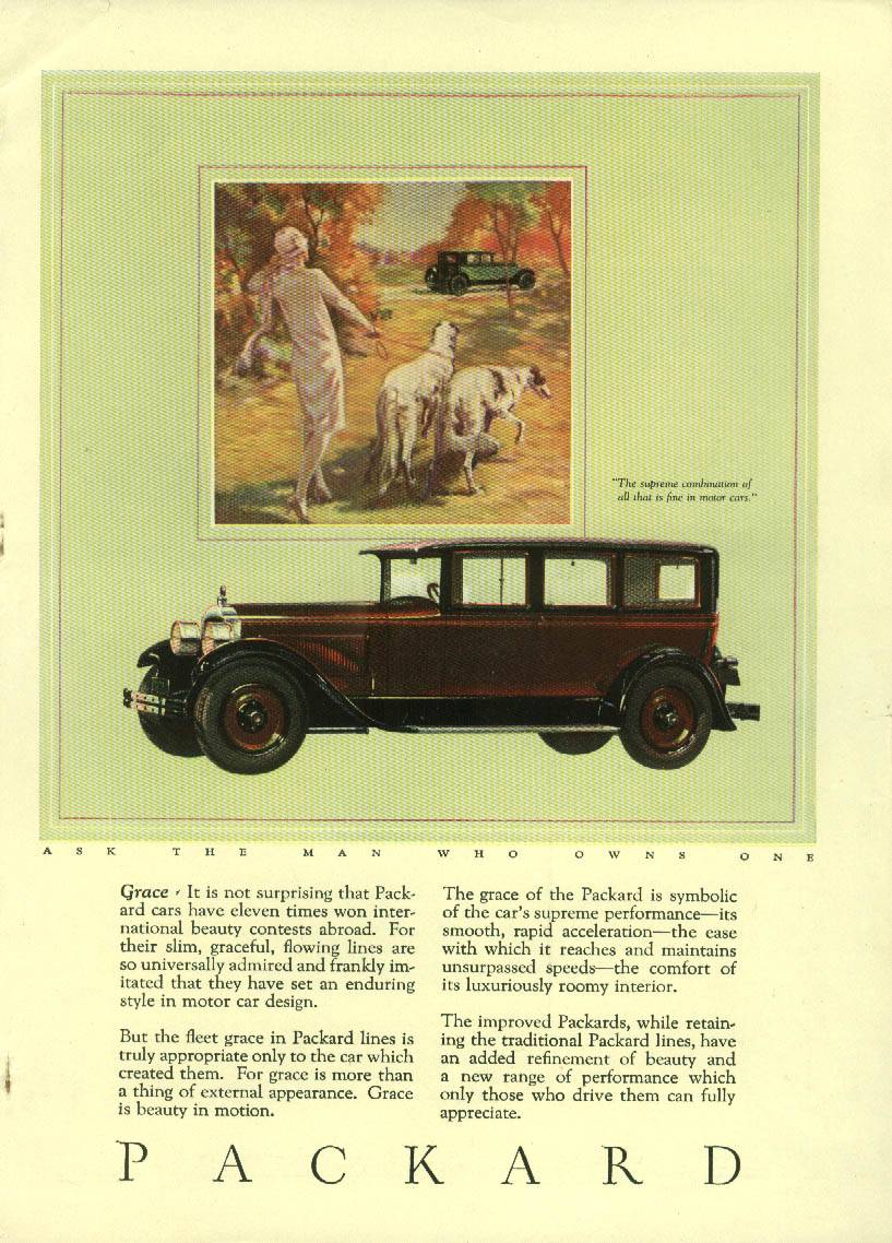 Grace - 11 times international beauty contest winner Packard Sedan ad 1927 M