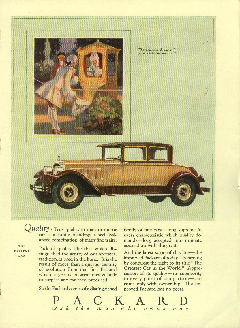 Quality - a subtle blending of many fine traits Packard Coupe ad 1927 Mentor
