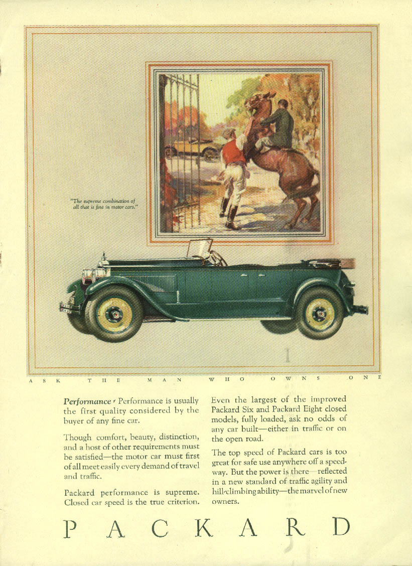 Performance - usually the first quality considered Packard Phaeton ad 1927 M