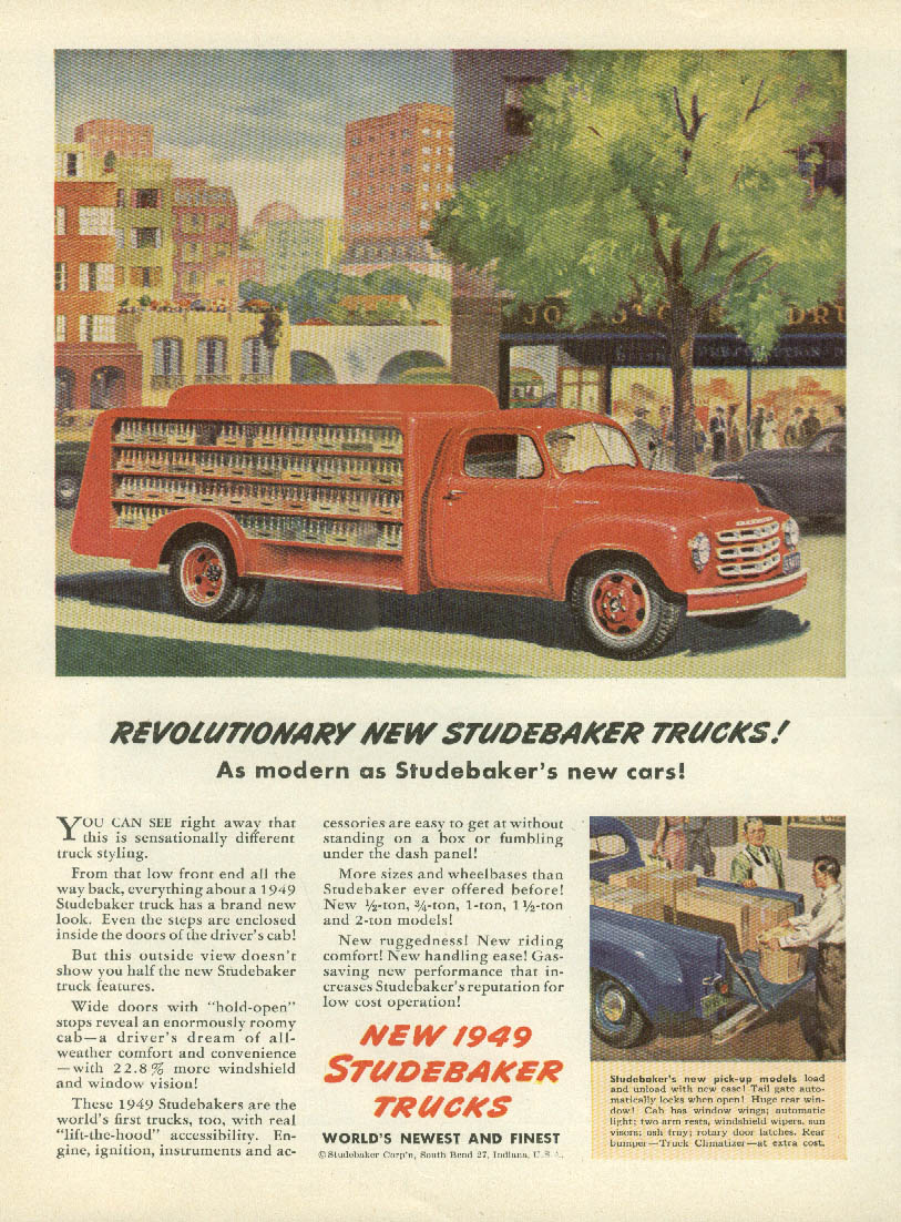 Revolutionary new Studebaker Trucks ad 1949 soda bottle delivery NWK