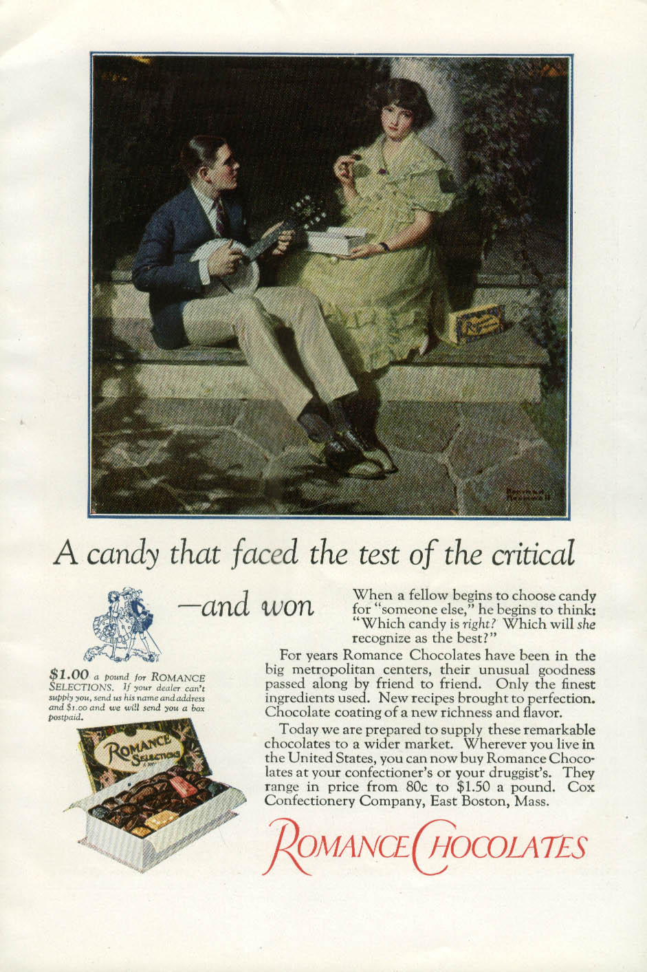 A candy that faced the test Romance Chocolates ad 1923 Norman Rockwell