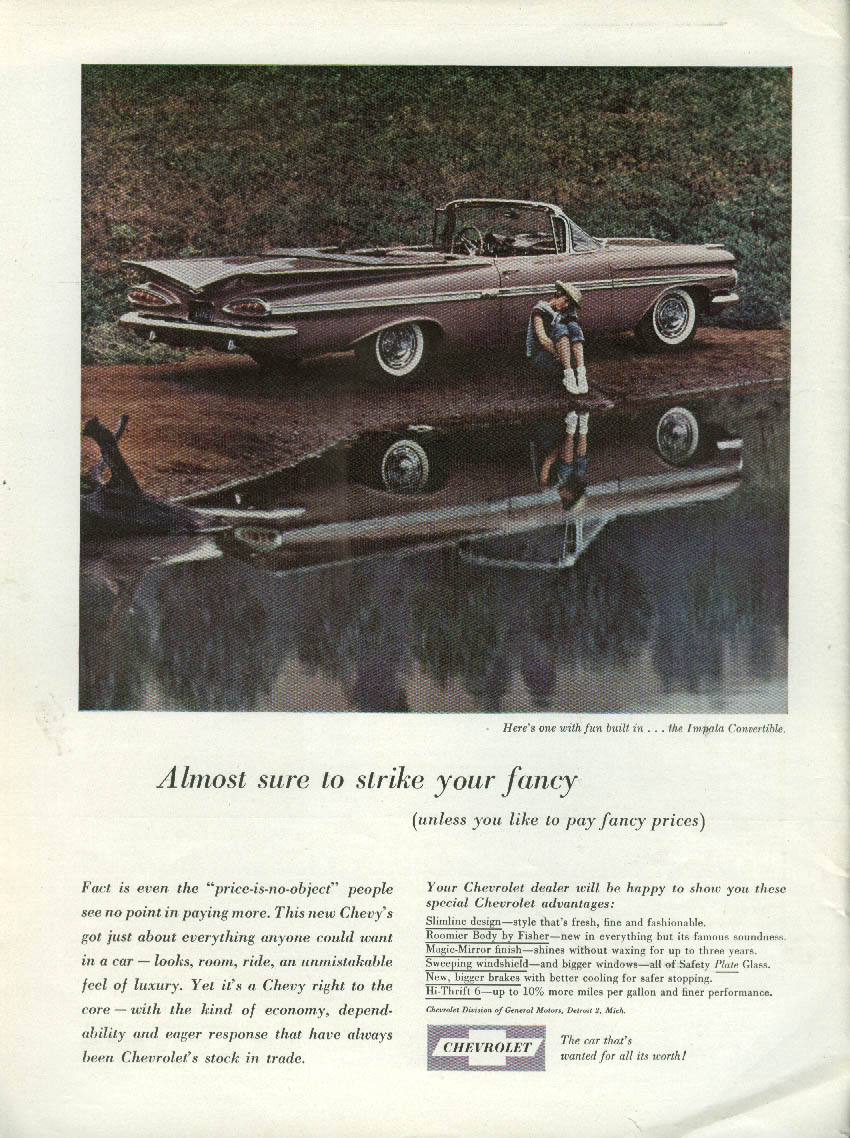 Almost sure to strike your fancy Chevrolet Impala Convertible ad 1959 NY