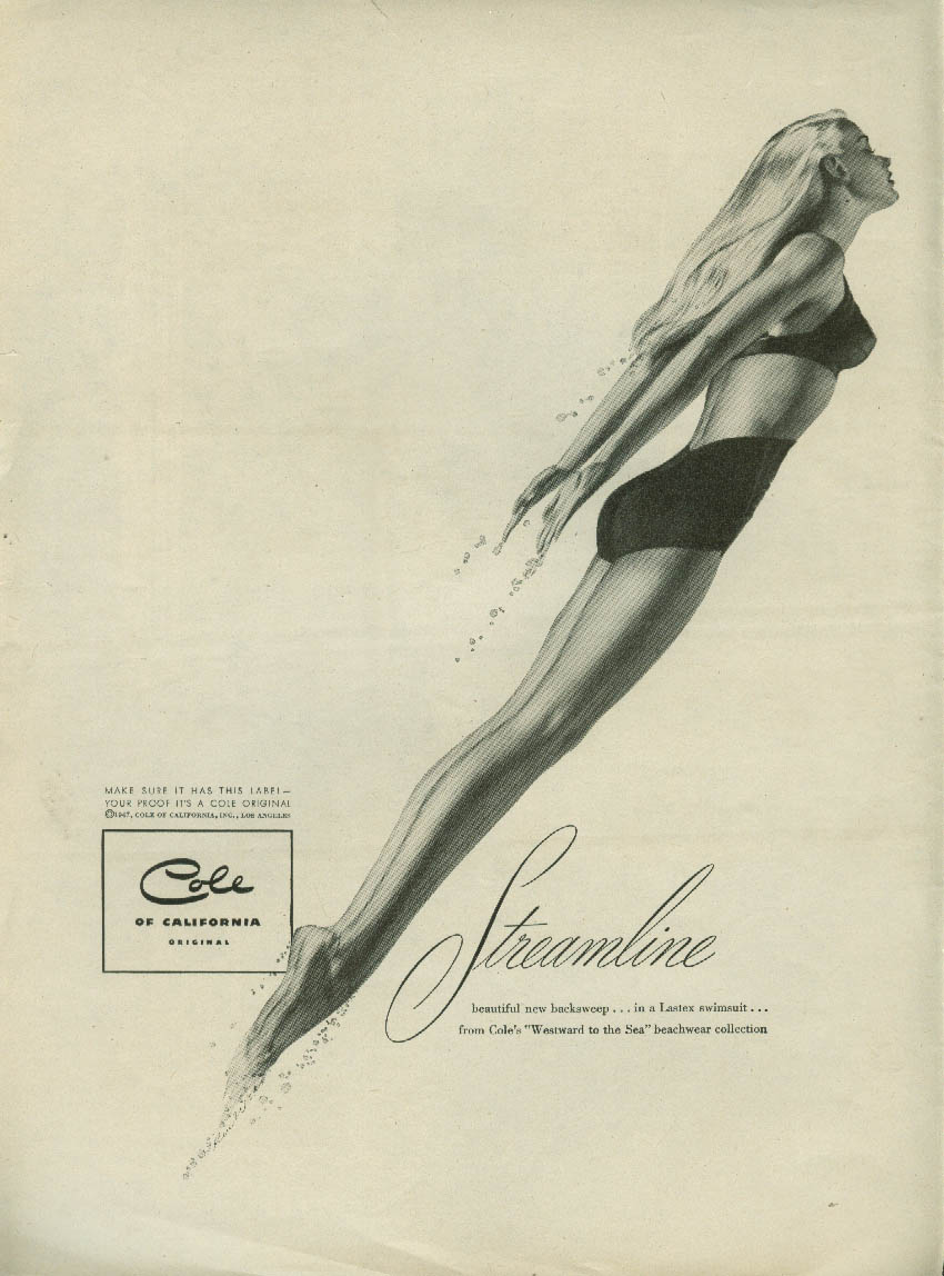 Cole Streamline Swimsuit ad 1947 Ren Wicks