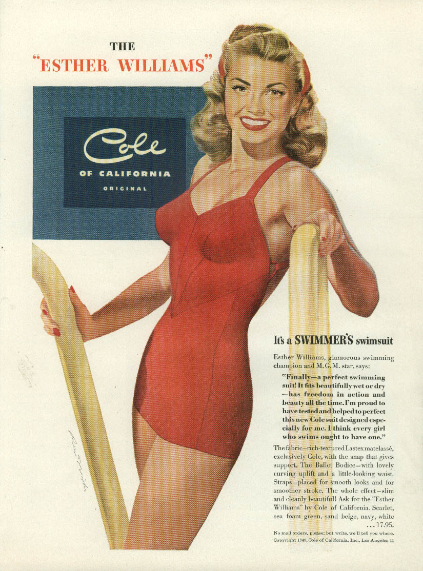 A swimmer's swimsuit Esther Williams Cole of California ad 1949 Ren Wicks Mlle