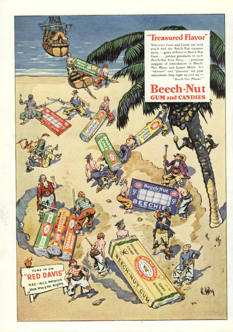 Image for Treasured Flavor Beech-Nut Gum ad 1935 pirates on desert isle