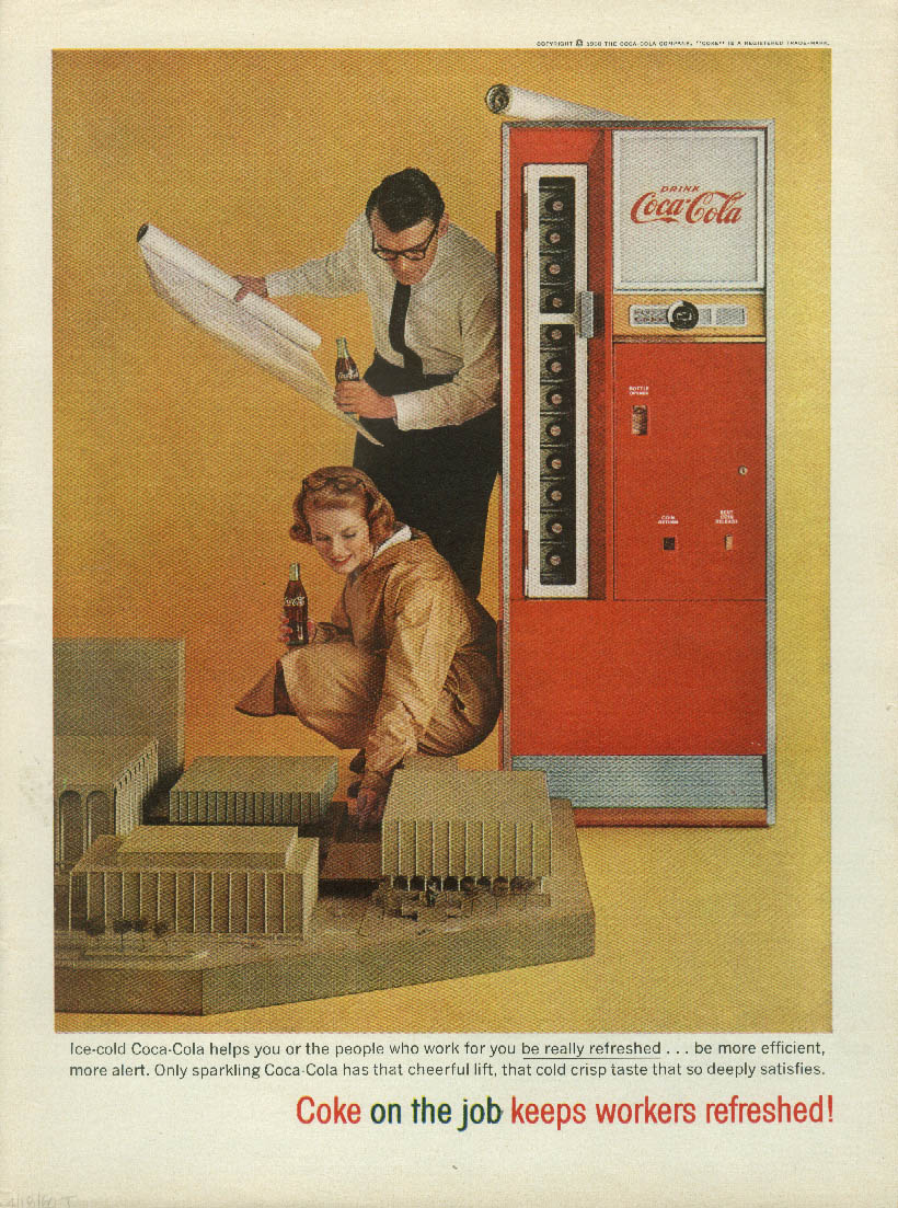 Coca-Cola on the job keeps workers refreshed! Ad 1960 architects