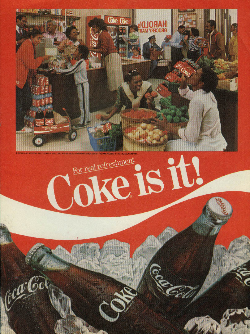 Coke is it! Coca-Cola ad 1983 black grocery store clerks & customers