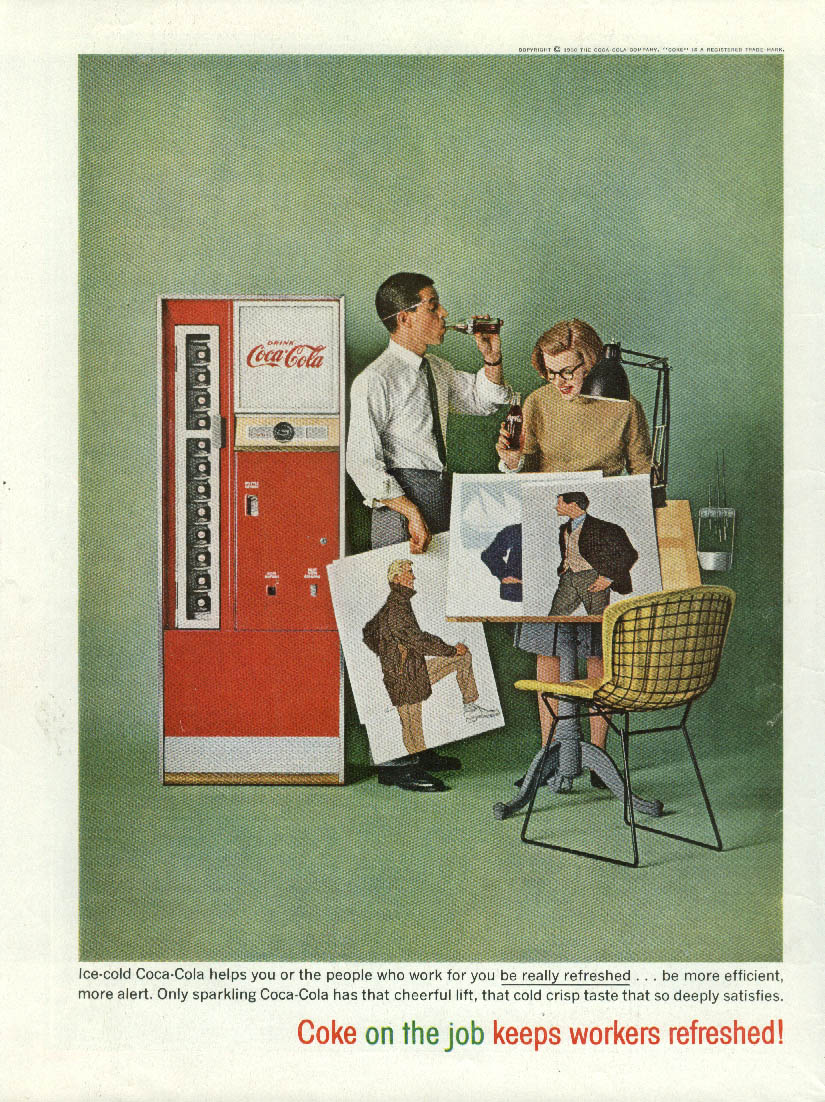 Coca-Cola on the job keeps workers refreshed! Ad 1960 advertising agency