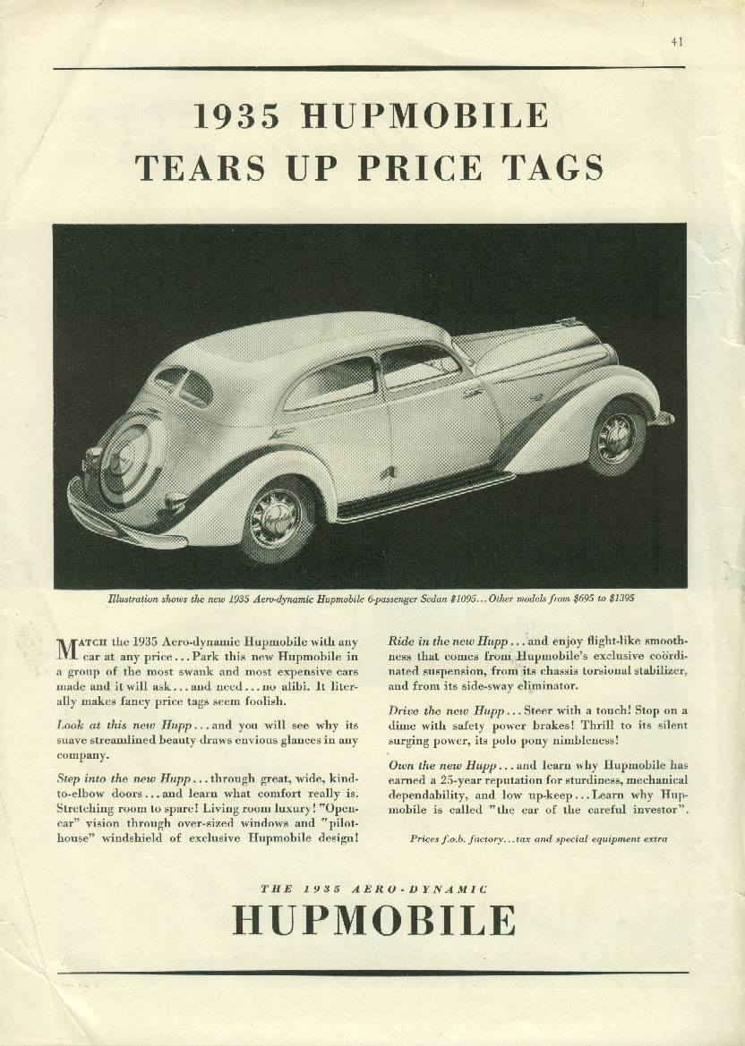 1935 Hupmobile Aero-dynamic Sedan tears up price tags ad 1935 NY